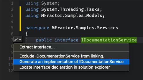 Invoking the Generate Interface Implementation Code Action from the IntelliSense Suggestions or Keyboard Shortcut