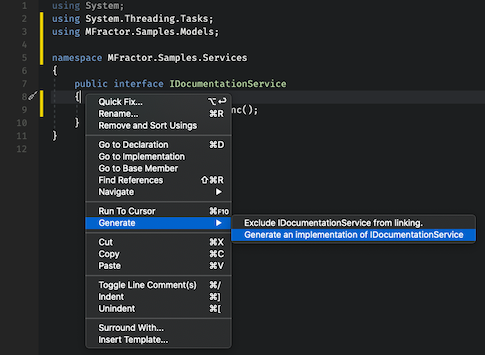 Invoking the Generate Interface Implementation Code Action from the Context Menu