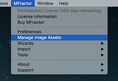 Opening the Image Asset Manager from the top menu