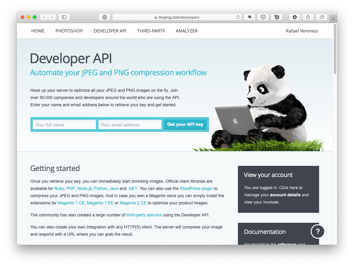 The TinyPNG API Key Creation website