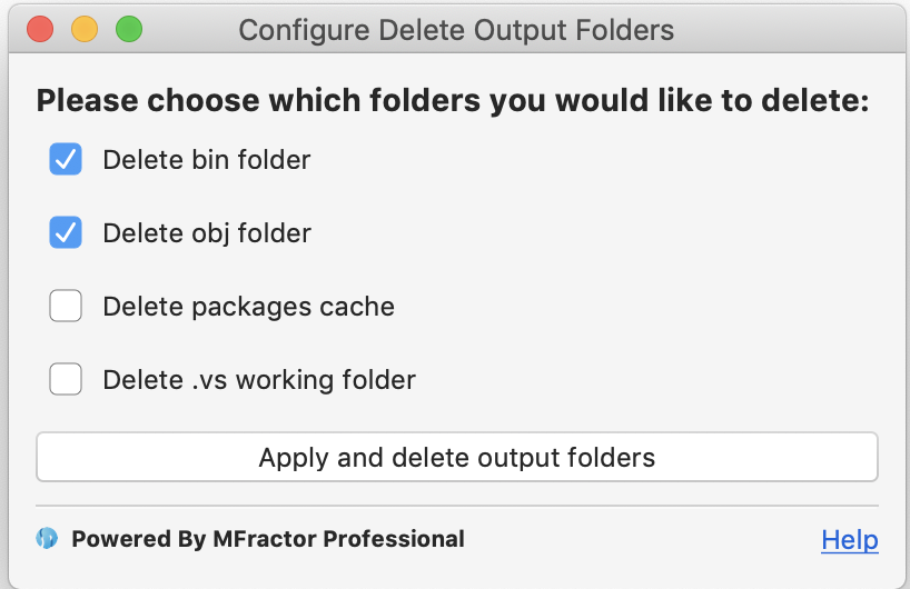 Configuring which output folders to delete