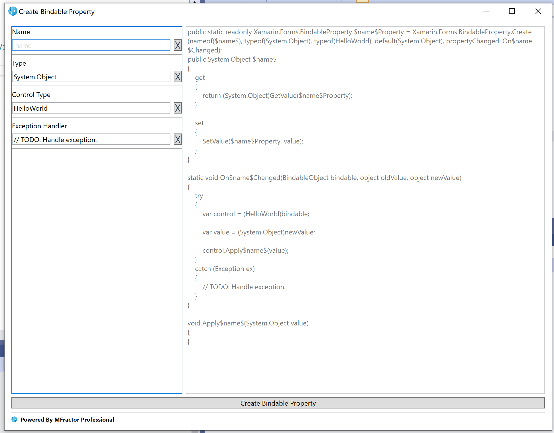 The bindable property wizard in Visual Studio Windows