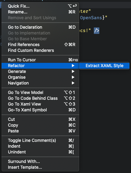 How to access the Extract Style Code Action using the context menu of the Code Editor